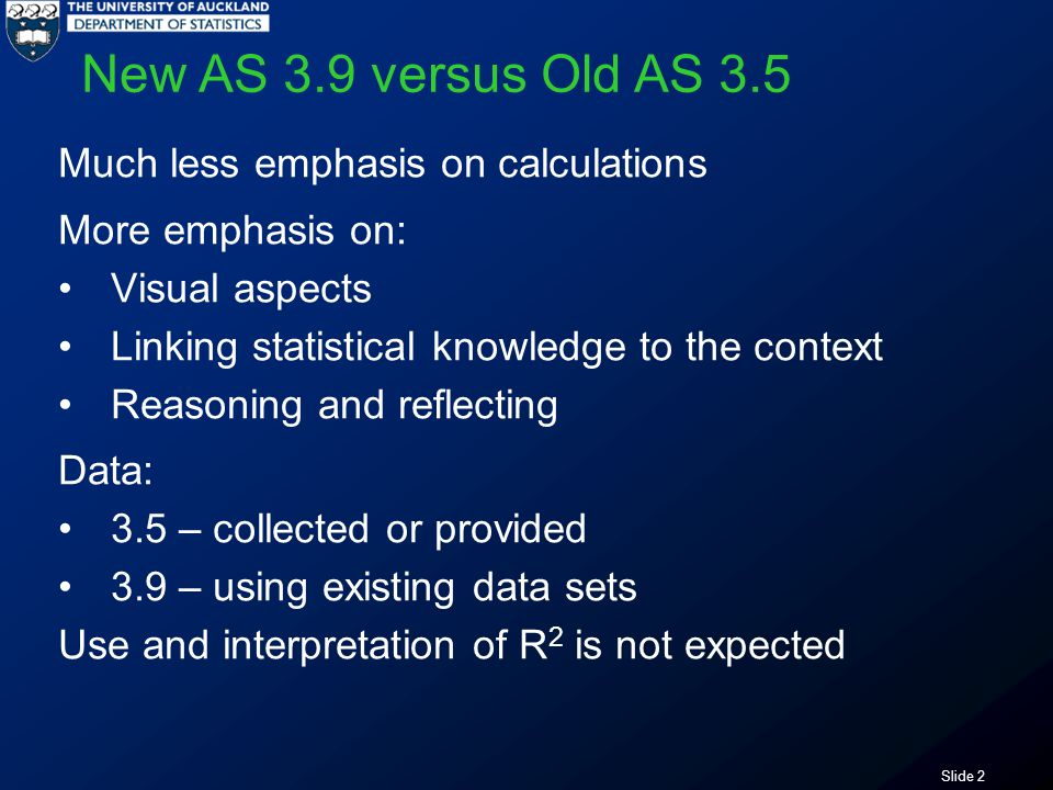 Slide 2 New AS 3.9 versus Old AS 3.5 Much less emphasis on calculations More emphasis on: Visual aspects Linking statistical knowledge to the context Reasoning and reflecting Data: 3.5 – collected or provided 3.9 – using existing data sets Use and interpretation of R 2 is not expected