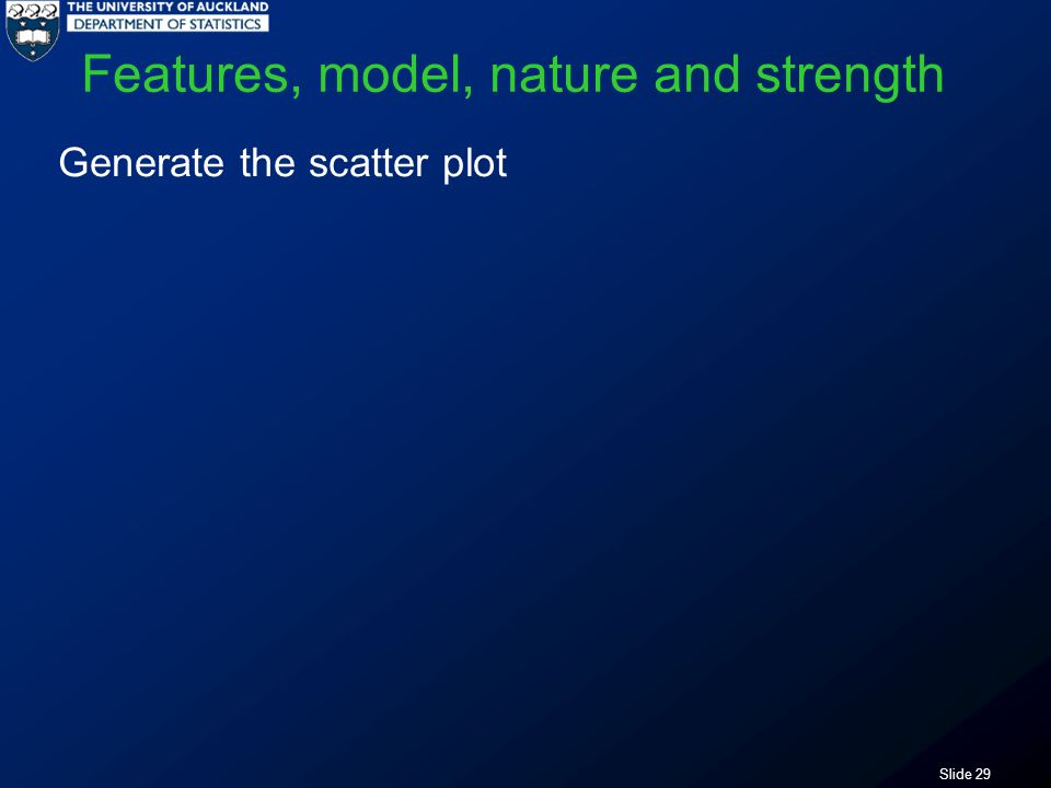 Slide 29 Features, model, nature and strength Generate the scatter plot