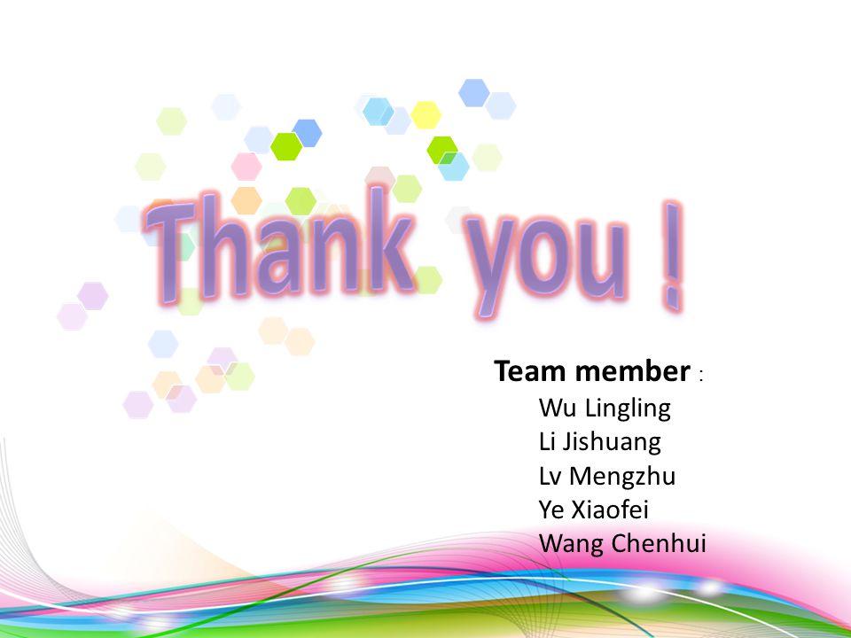 Team member : Wu Lingling Li Jishuang Lv Mengzhu Ye Xiaofei Wang Chenhui