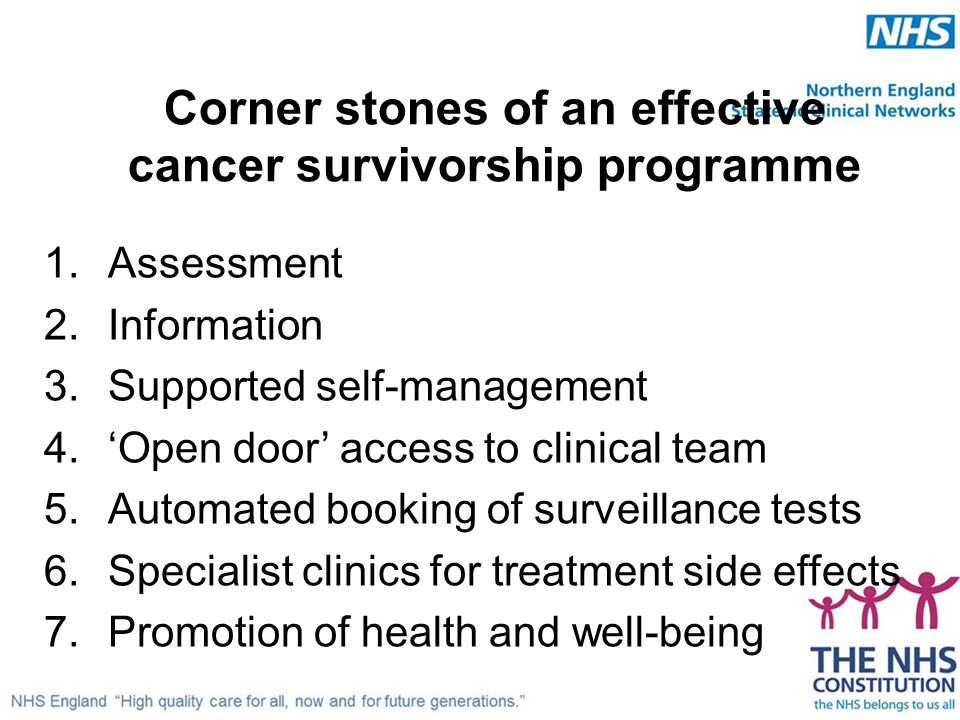 Corner stones of an effective cancer survivorship programme 1.Assessment 2.Information 3.Supported self-management 4.'Open door' access to clinical te