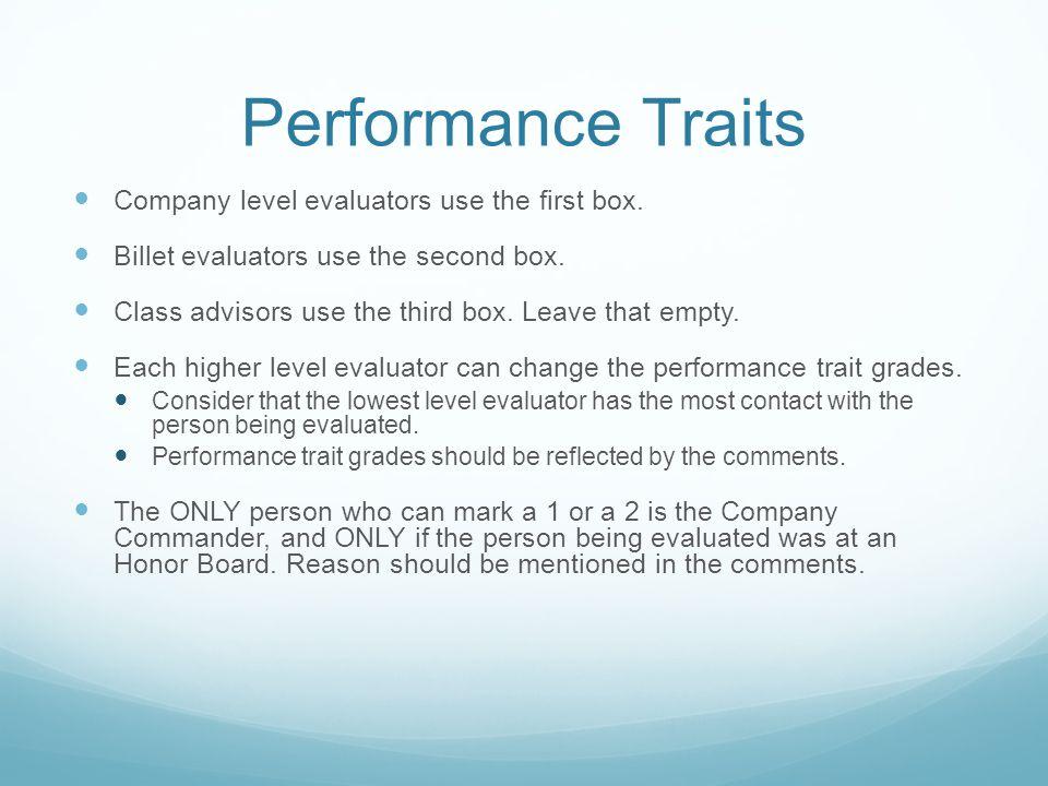 Performance Traits Company level evaluators use the first box.