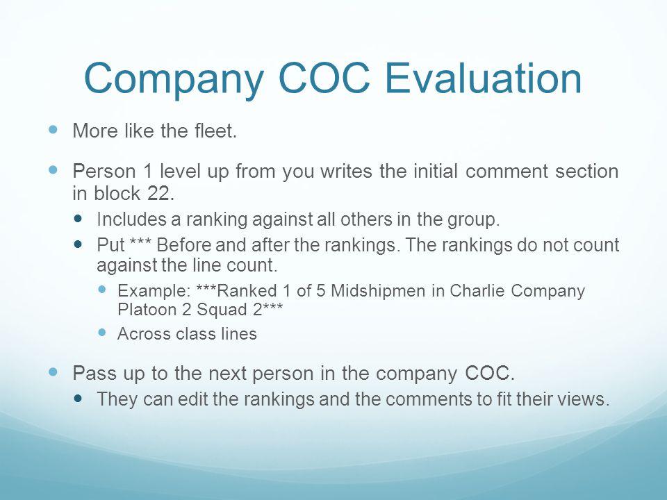 Company COC Evaluation More like the fleet.