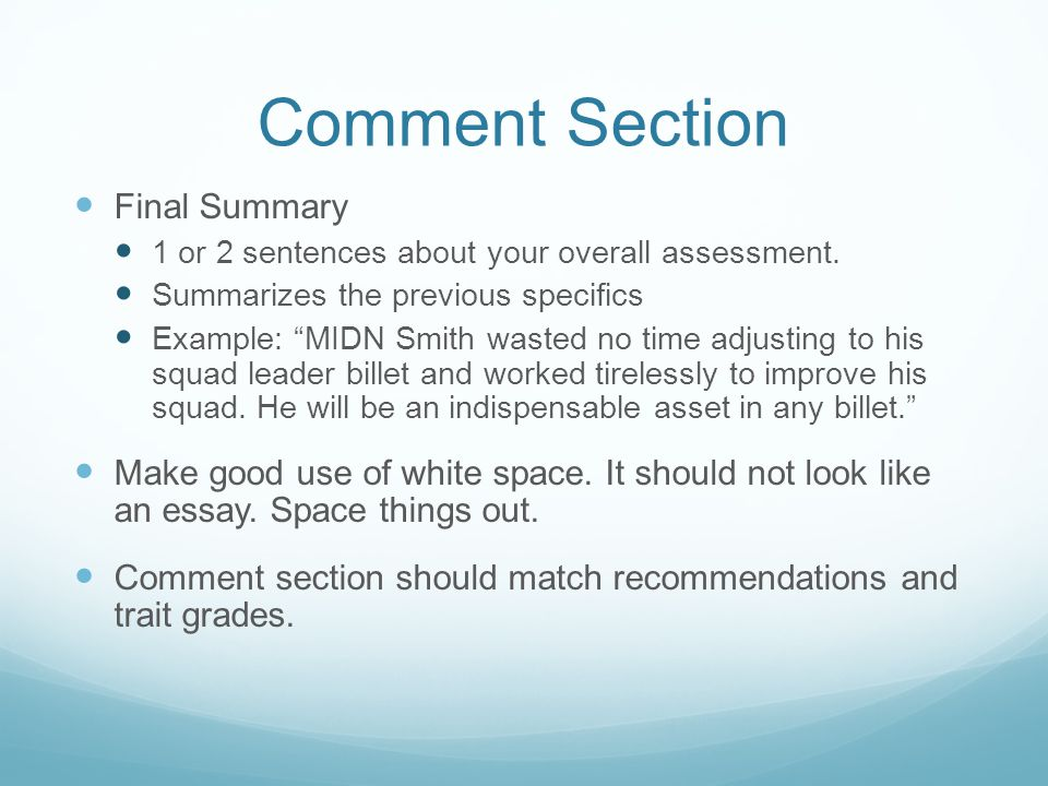 Comment Section Final Summary 1 or 2 sentences about your overall assessment.