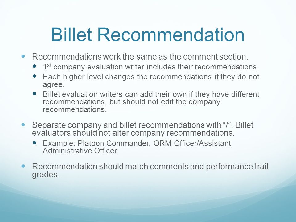 Billet Recommendation Recommendations work the same as the comment section. 1 st company evaluation writer includes their recommendations. Each higher