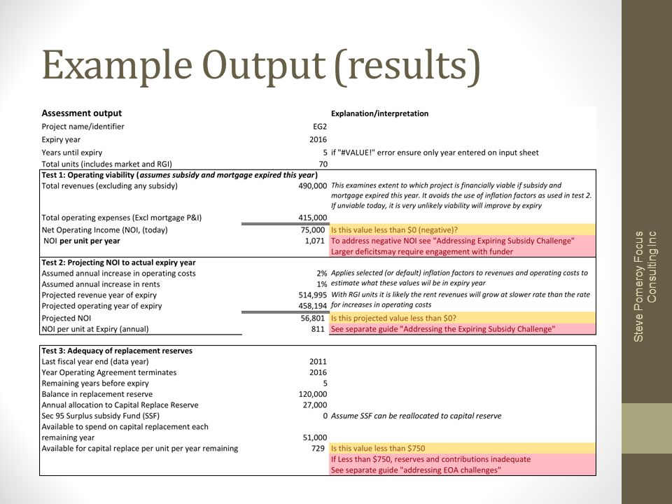 Example Output (results) Steve Pomeroy Focus Consulting Inc