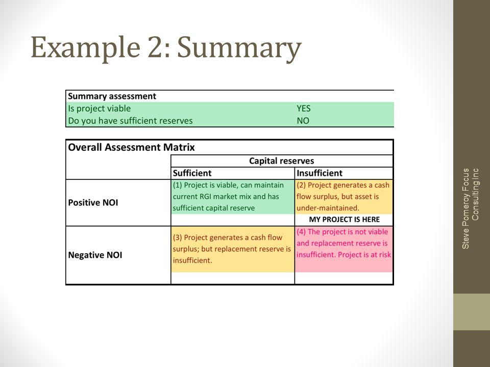 Example 2: Summary Steve Pomeroy Focus Consulting Inc