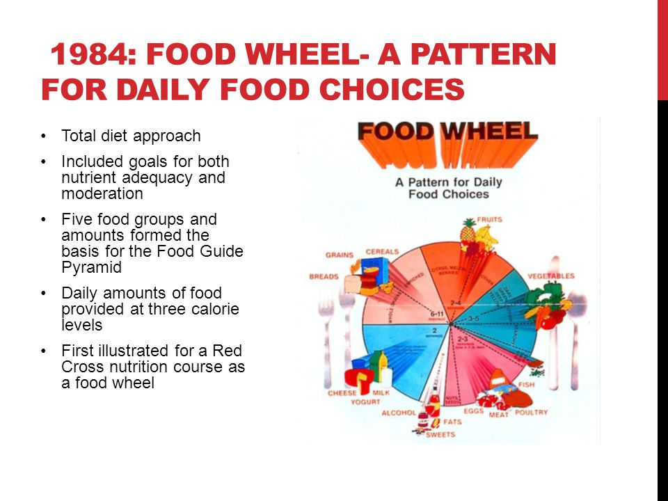 Total diet approach—goals for both nutrient adequacy and moderation Developed using consumer research, to bring awareness to the new food patterns Illustration focused on concepts of variety, moderation, and proportion Included visualization of added fats and sugars throughout five food groups and in the tip Included range for daily amounts of food across three calorie levels 1992: FOOD GUIDE PYRAMID