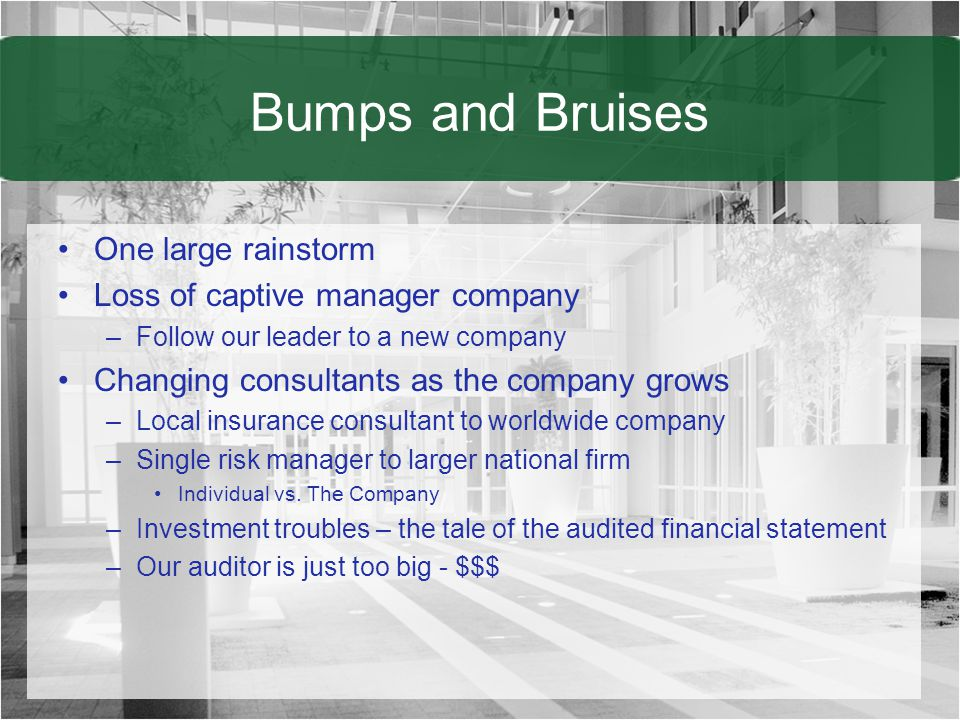 Bumps and Bruises One large rainstorm Loss of captive manager company –Follow our leader to a new company Changing consultants as the company grows –Local insurance consultant to worldwide company –Single risk manager to larger national firm Individual vs.
