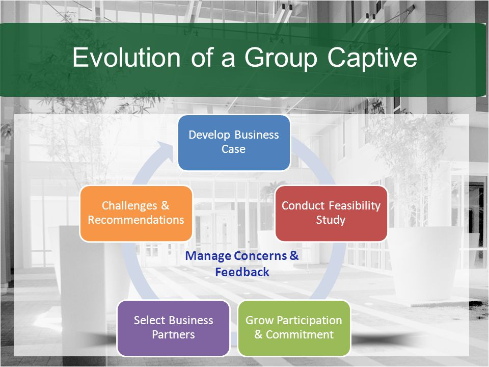 Evolution of a Group Captive Develop Business Case Conduct Feasibility Study Grow Participation & Commitment Select Business Partners Challenges & Recommendations Manage Concerns & Feedback