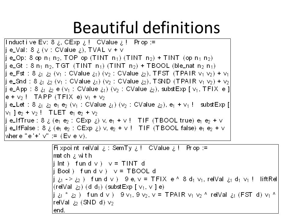 Beautiful definitions
