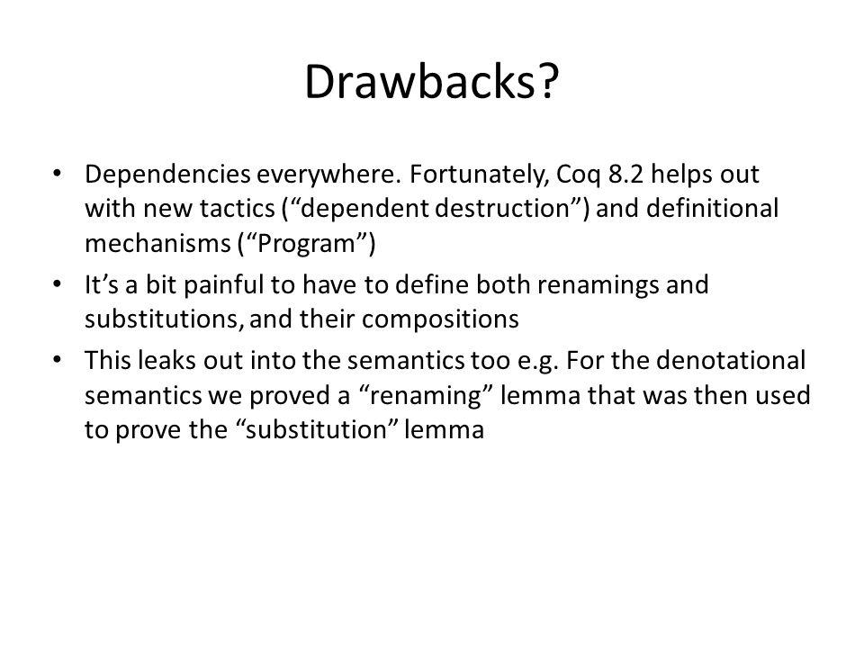 Drawbacks. Dependencies everywhere.