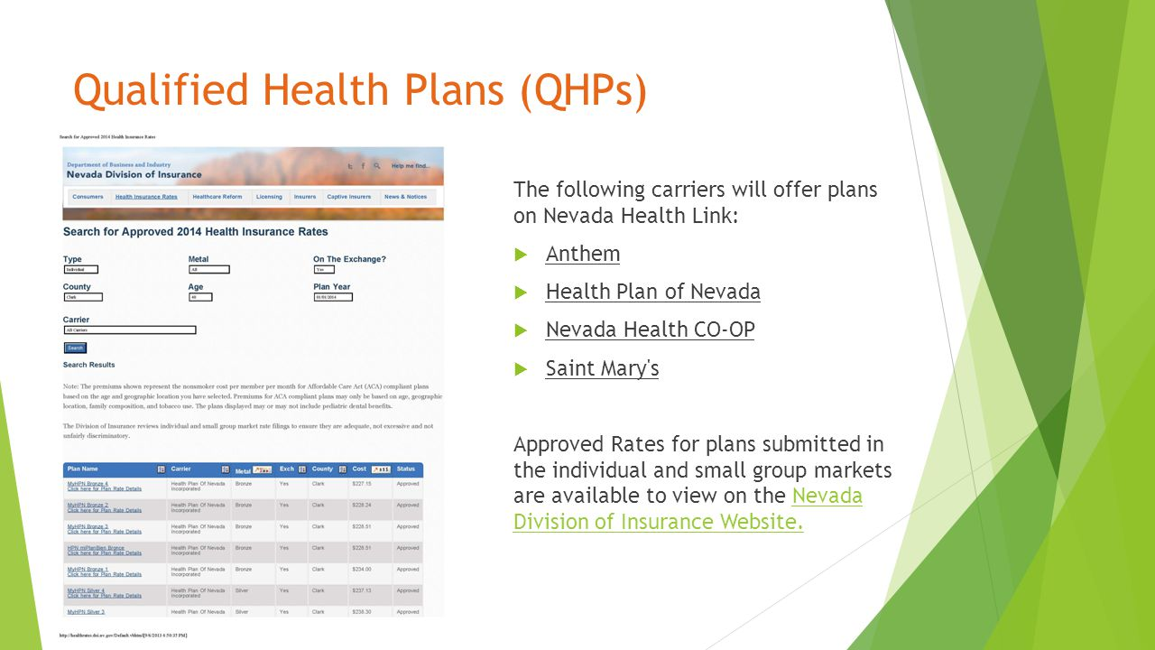 Qualified Health Plans (QHPs) The following carriers will offer plans on Nevada Health Link:  Anthem  Health Plan of Nevada  Nevada Health CO-OP  Saint Mary s Approved Rates for plans submitted in the individual and small group markets are available to view on the Nevada Division of Insurance Website.Nevada Division of Insurance Website.