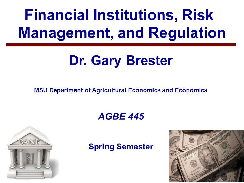 1 Financial Institutions, Risk Management, and Regulation Dr.