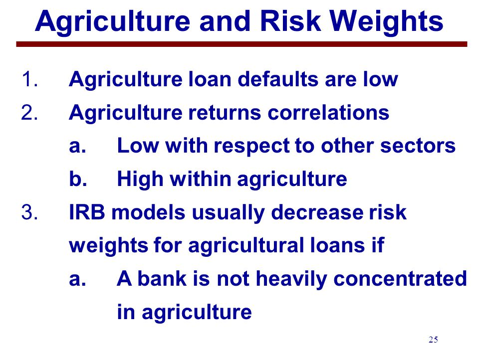 25 Agriculture and Risk Weights 1.Agriculture loan defaults are low 2.