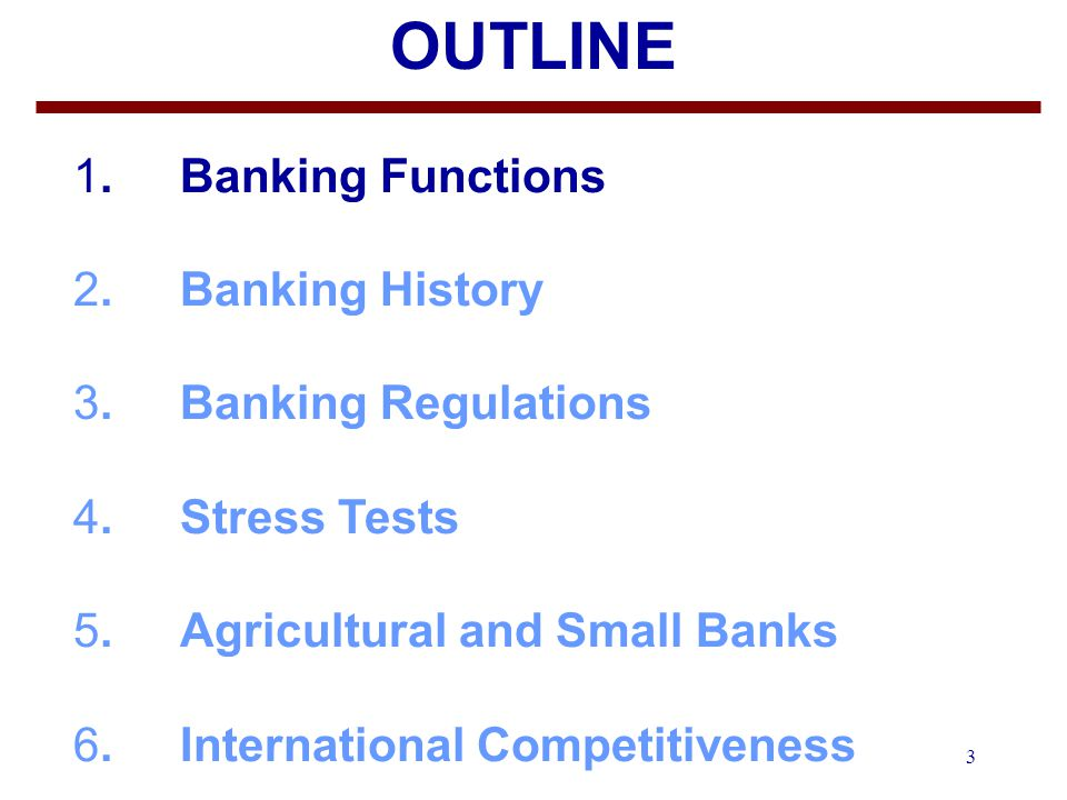 3 OUTLINE 1.Banking Functions 2. Banking History 3.