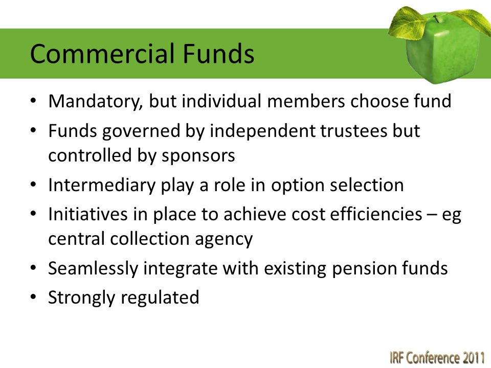 Commercial Funds Mandatory, but individual members choose fund Funds governed by independent trustees but controlled by sponsors Intermediary play a r