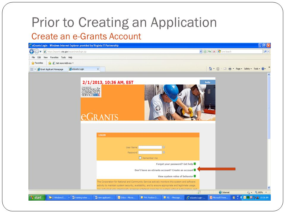 Prior to Creating an Application Create an e-Grants Account