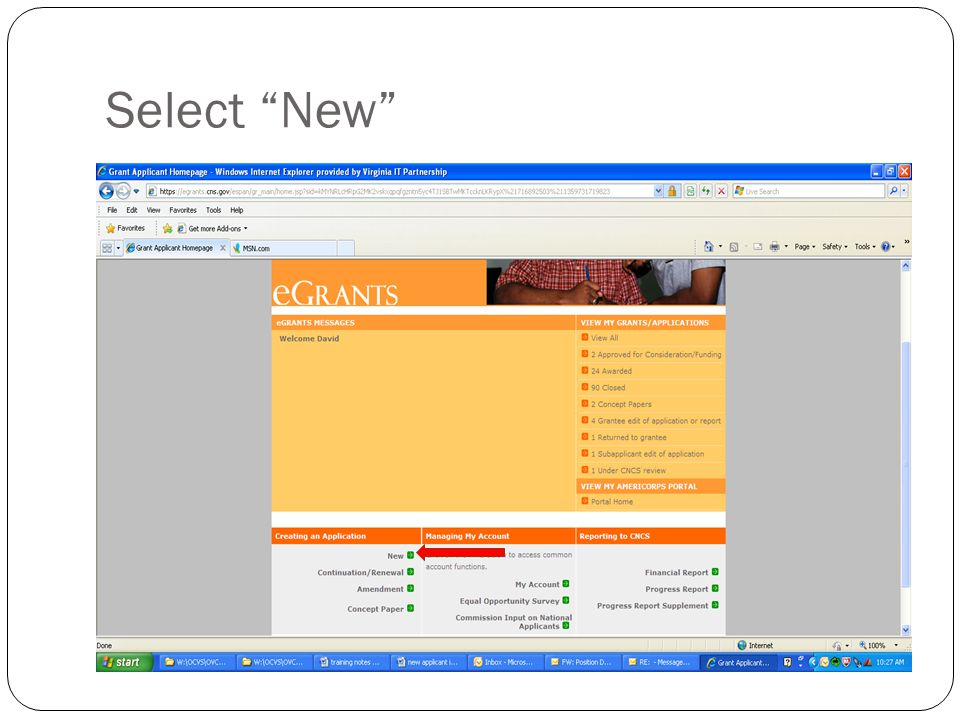 """Select """"New"""""""