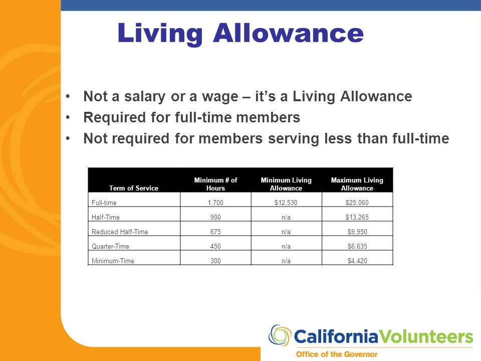Living Allowance Not a salary or a wage – it's a Living Allowance Required for full-time members Not required for members serving less than full-time Term of Service Minimum # of Hours Minimum Living Allowance Maximum Living Allowance Full-time1,700$12,530$25,060 Half-Time900n/a$13,265 Reduced Half-Time675n/a$9,950 Quarter-Time450n/a$6,635 Minimum-Time300n/a$4,420