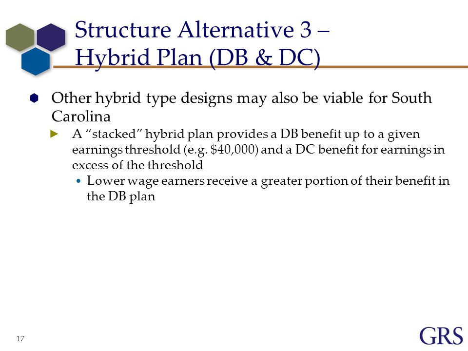 17  Other hybrid type designs may also be viable for South Carolina ► A stacked hybrid plan provides a DB benefit up to a given earnings threshold (e.g.