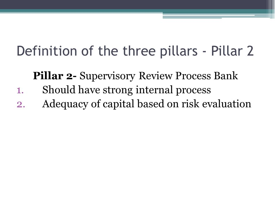 Definition of the three pillars - Pillar 2 Pillar 2- Supervisory Review Process Bank 1.
