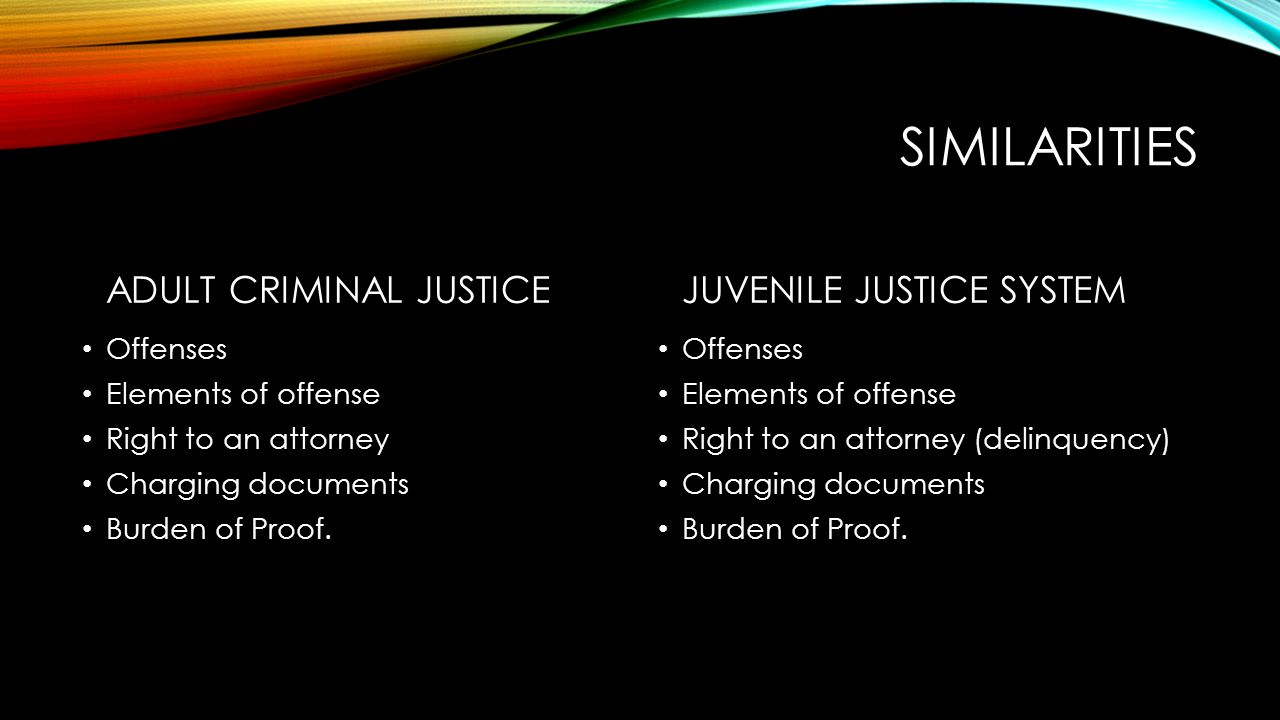 MAJOR DIFFERENCES ADULT – CRIMINAL JUSTICE Goal – Hold accountable Rights Advisory (Miranda) Rules of Criminal Procedure Open to the Public Right to Jury Trial Age – 18 at time of offense Exception – 1 st Degree Murder (16 y.o.)/DWI/Petty Traffic.