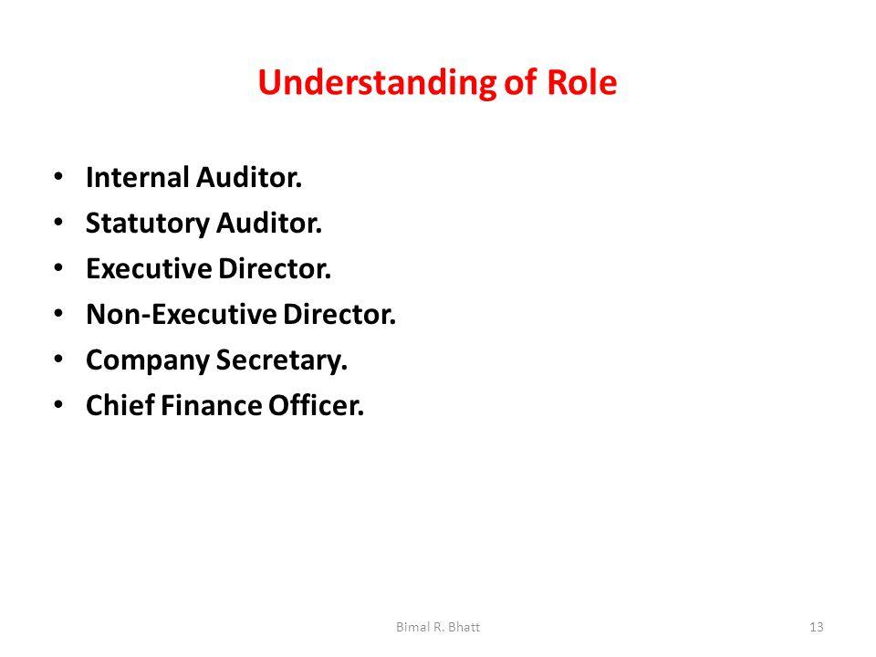 Understanding of Role Internal Auditor. Statutory Auditor.