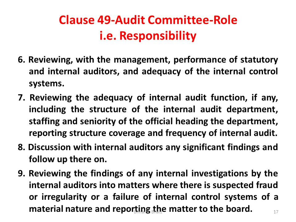 Clause 49-Audit Committee-Role i.e. Responsibility 6.