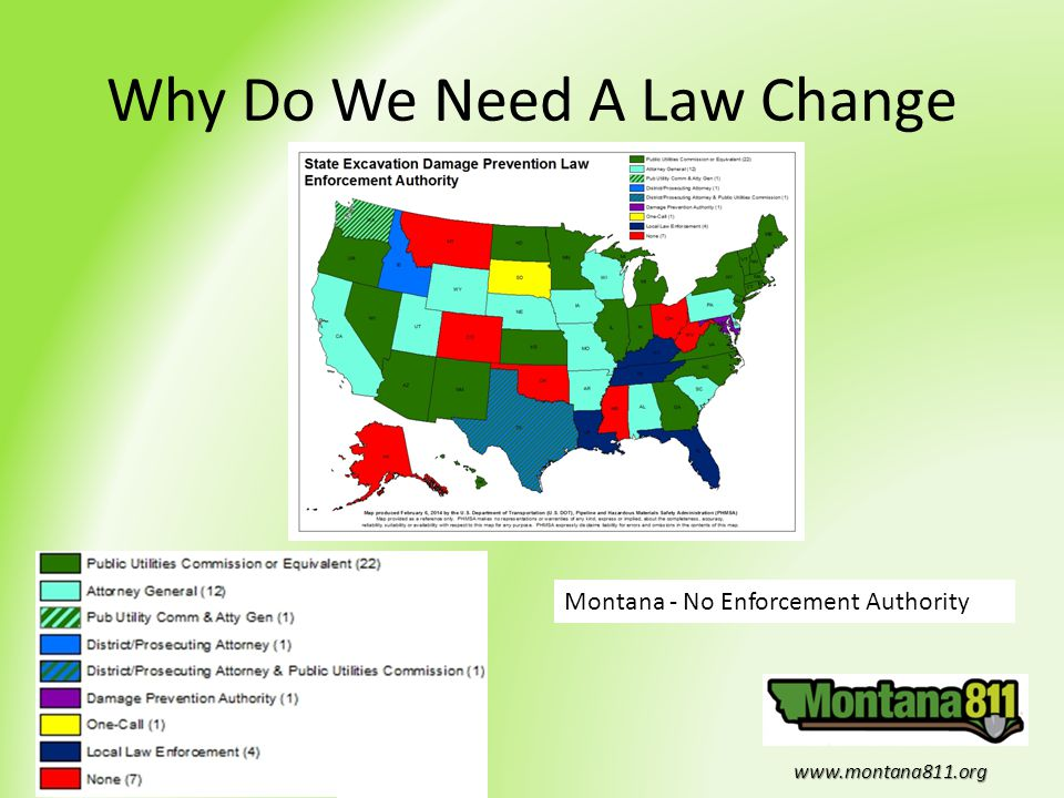 www.montana811.org Why Do We Need A Law Change Montana - No Enforcement Authority