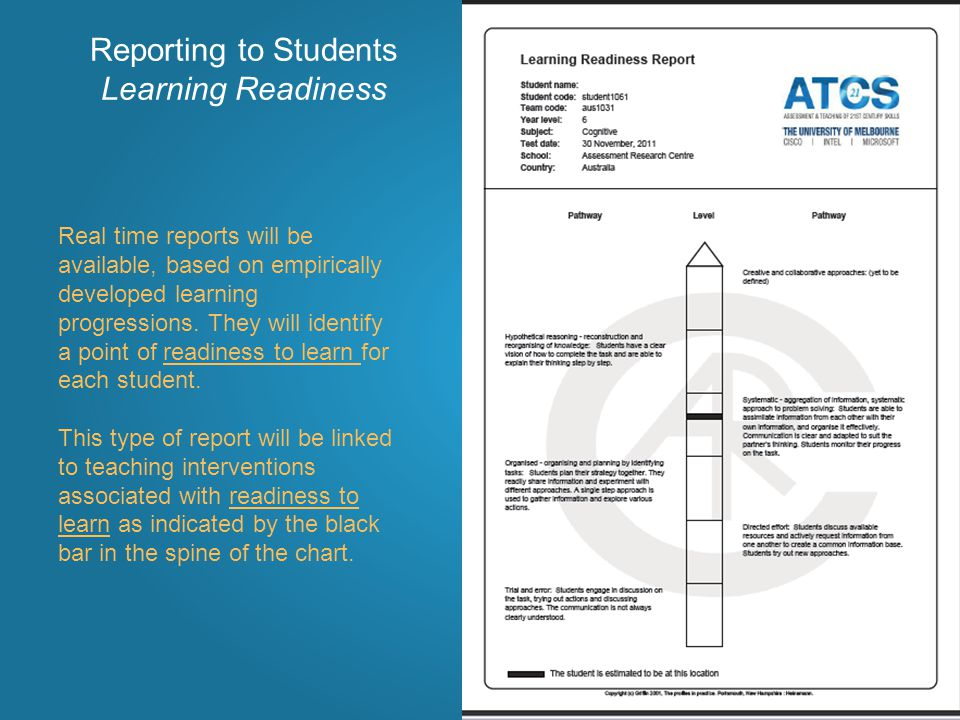 Reporting to Students Learning Readiness Real time reports will be available, based on empirically developed learning progressions.