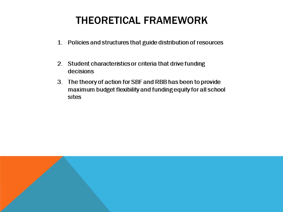 THEORETICAL FRAMEWORK 1.Policies and structures that guide distribution of resources 2.Student characteristics or criteria that drive funding decision