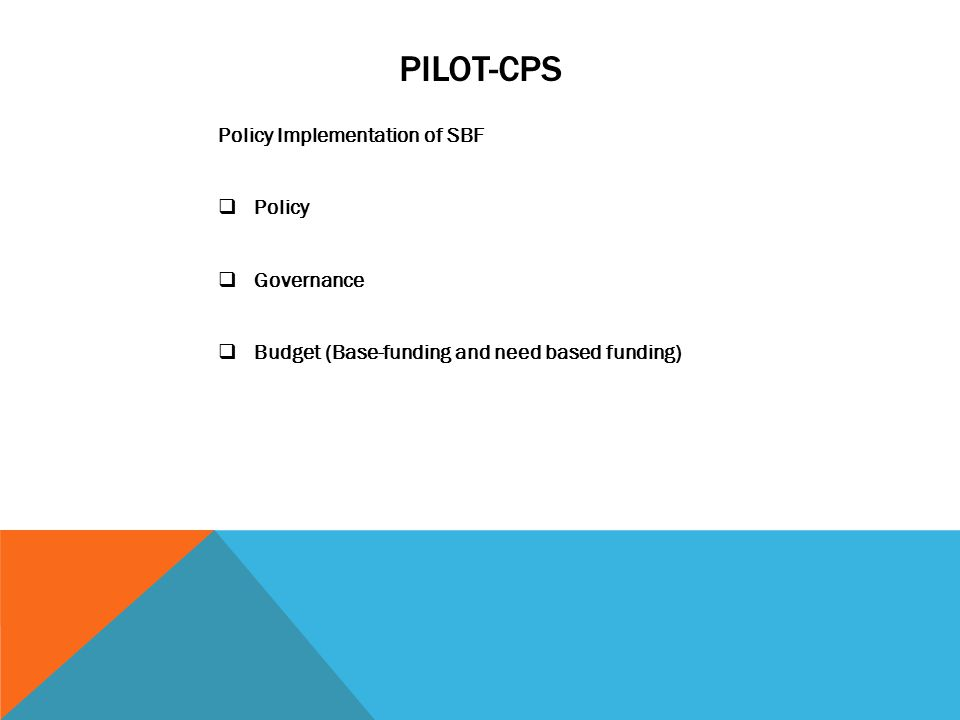 PILOT-CPS Policy Implementation of SBF  Policy  Governance  Budget (Base-funding and need based funding)