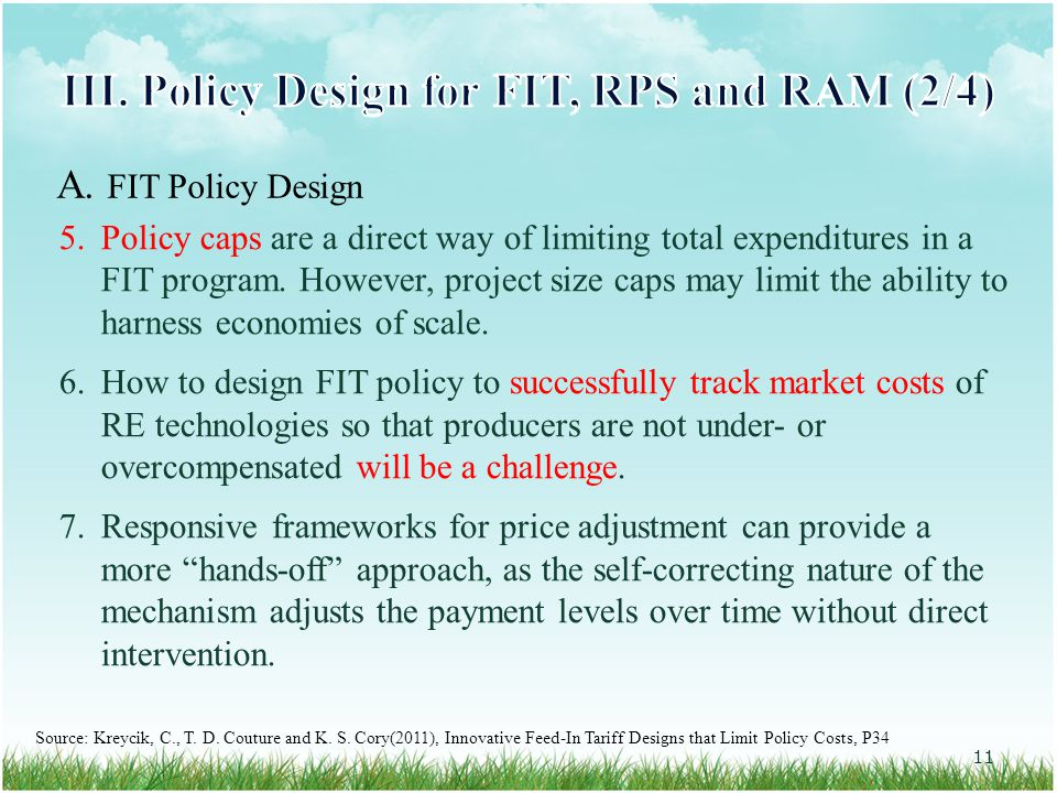5.Policy caps are a direct way of limiting total expenditures in a FIT program.