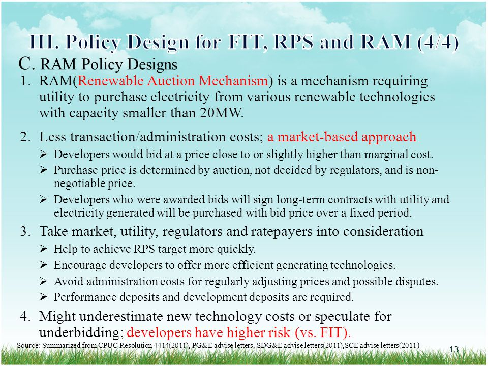 1.RAM(Renewable Auction Mechanism) is a mechanism requiring utility to purchase electricity from various renewable technologies with capacity smaller than 20MW.
