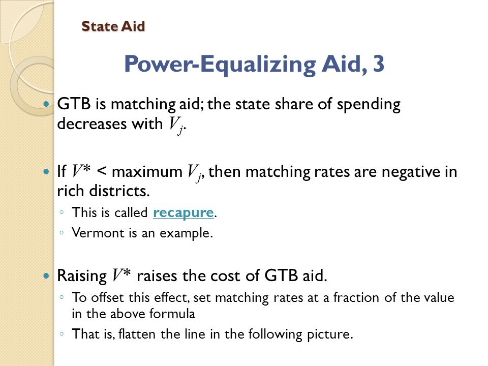 State Aid Power-Equalizing Aid, 3 GTB is matching aid; the state share of spending decreases with V j.