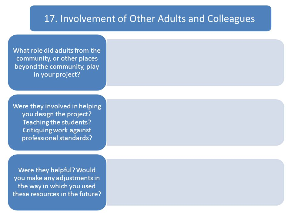 17. Involvement of Other Adults and Colleagues What role did adults from the community, or other places beyond the community, play in your project? We