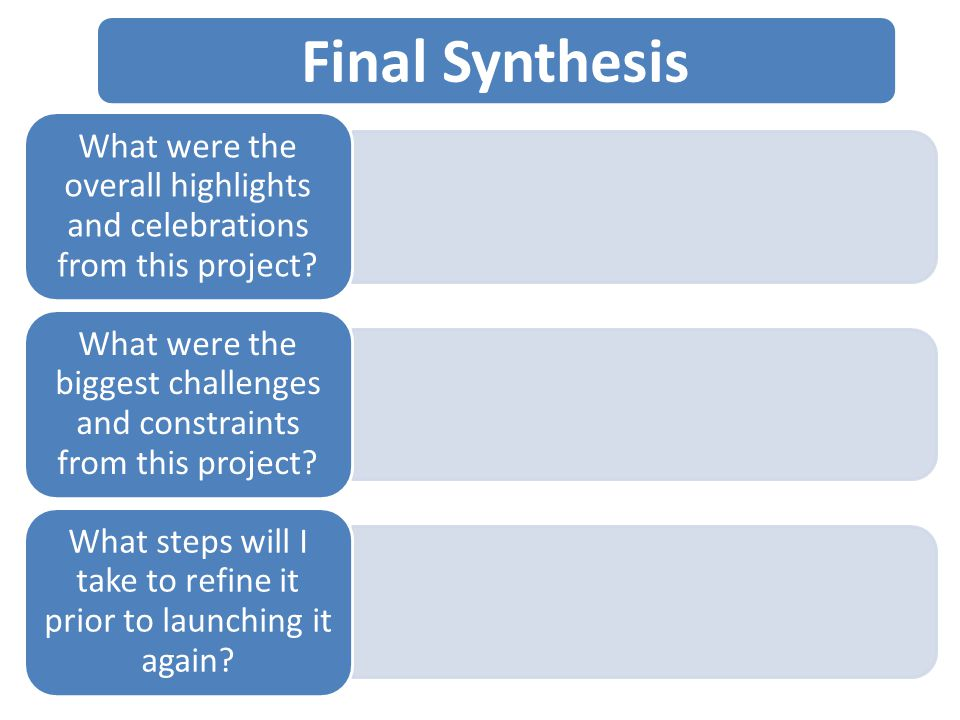 Final Synthesis What were the overall highlights and celebrations from this project.