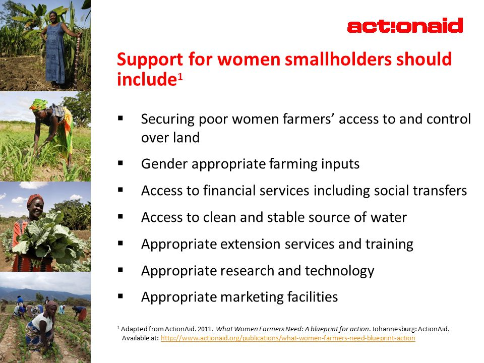 Support for women smallholders should include 1  Securing poor women farmers' access to and control over land  Gender appropriate farming inputs  Access to financial services including social transfers  Access to clean and stable source of water  Appropriate extension services and training  Appropriate research and technology  Appropriate marketing facilities 1 Adapted from ActionAid.