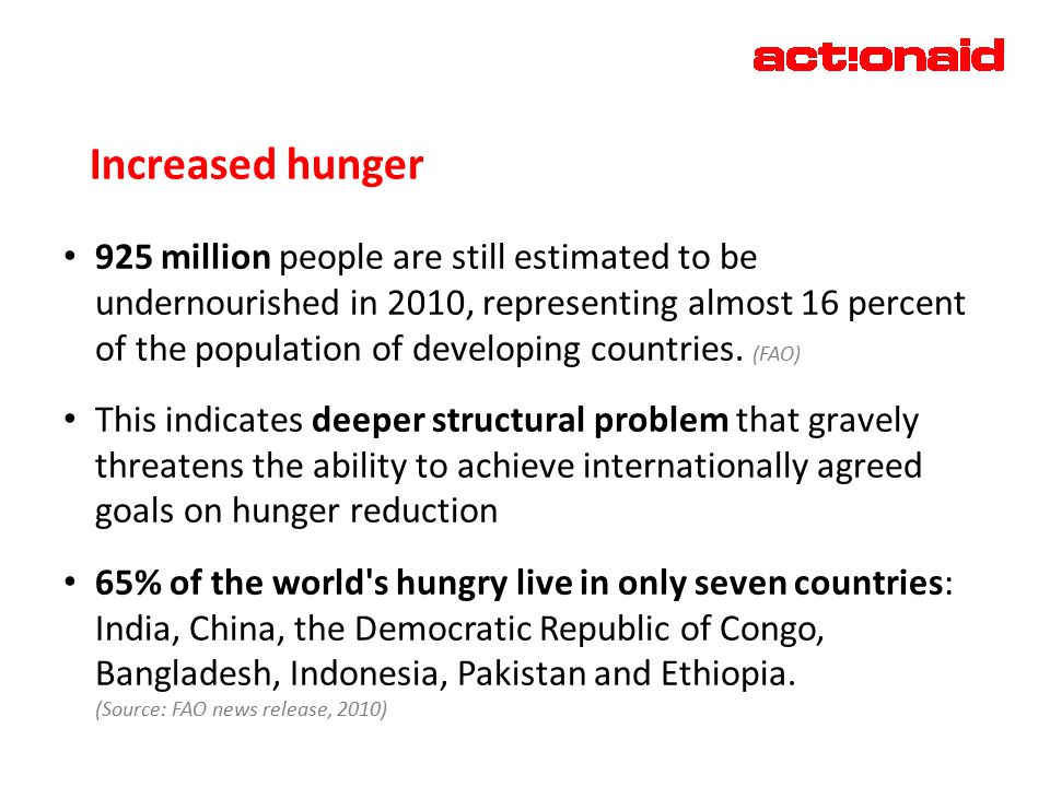Increased hunger 925 million people are still estimated to be undernourished in 2010, representing almost 16 percent of the population of developing countries.