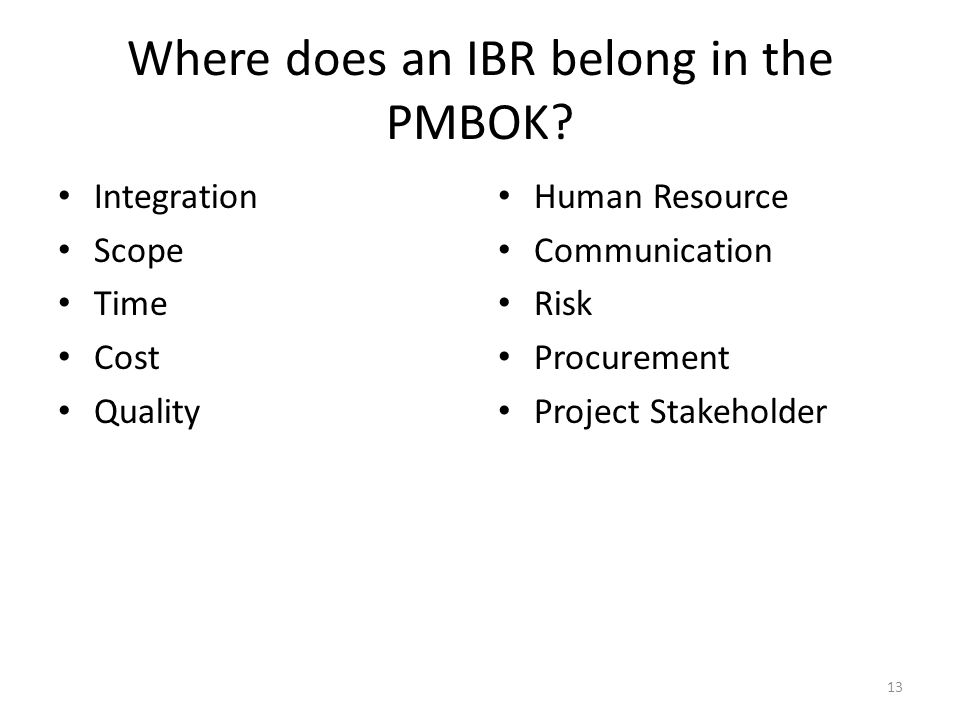 Where does an IBR belong in the PMBOK.