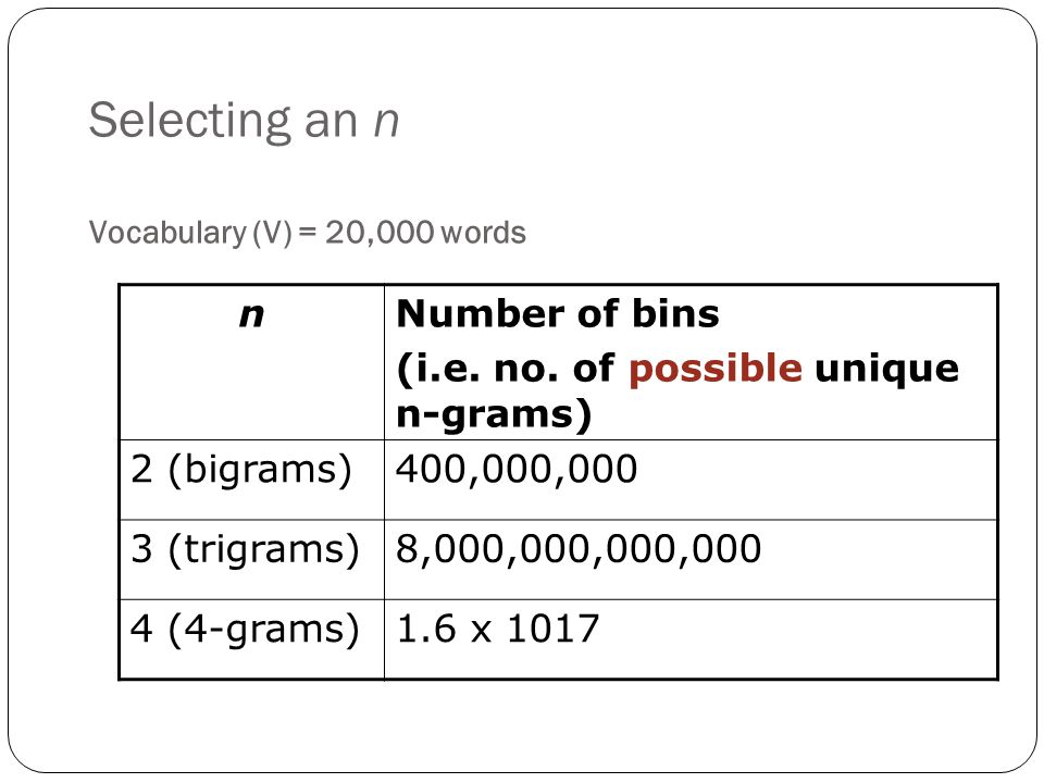 Selecting an n Vocabulary (V) = 20,000 words nNumber of bins (i.e.