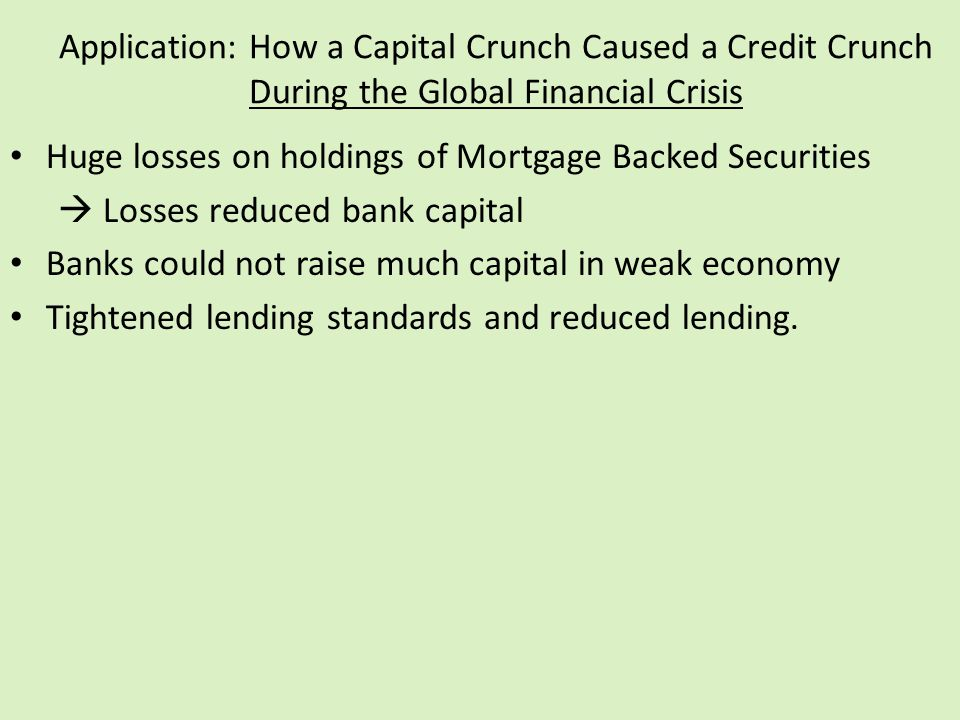 Application: How a Capital Crunch Caused a Credit Crunch During the Global Financial Crisis Huge losses on holdings of Mortgage Backed Securities  Lo