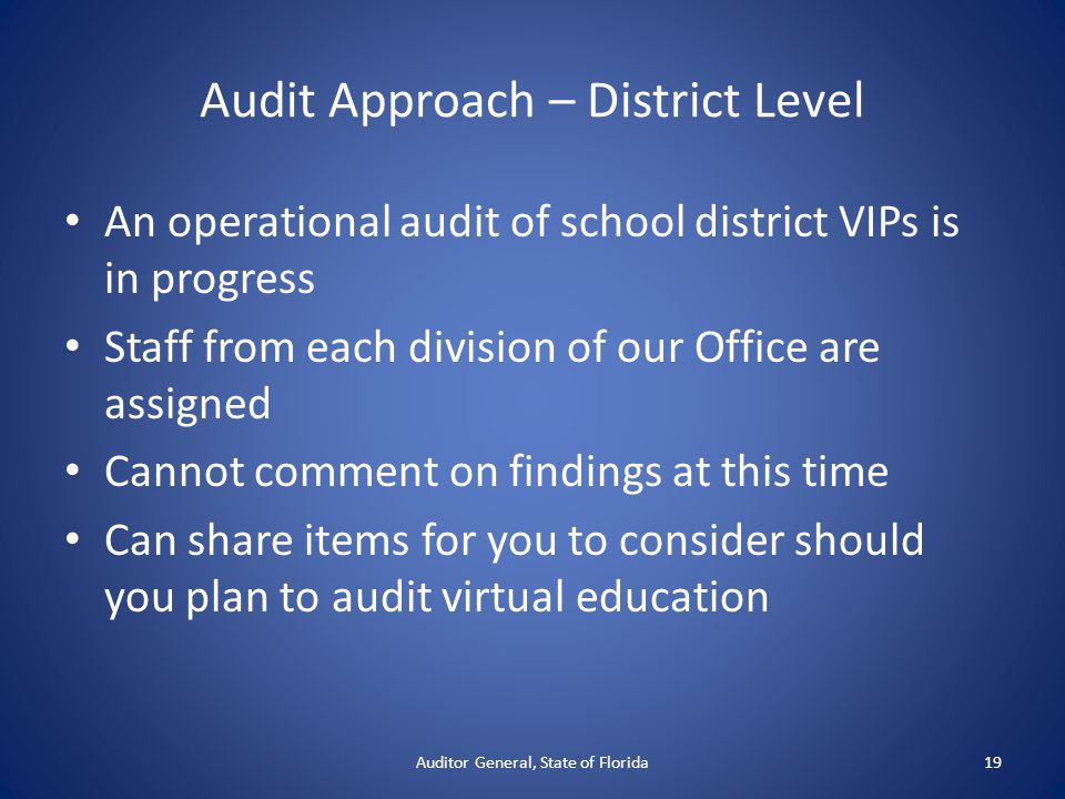 Audit Approach – District Level An operational audit of school district VIPs is in progress Staff from each division of our Office are assigned Cannot comment on findings at this time Can share items for you to consider should you plan to audit virtual education Auditor General, State of Florida19