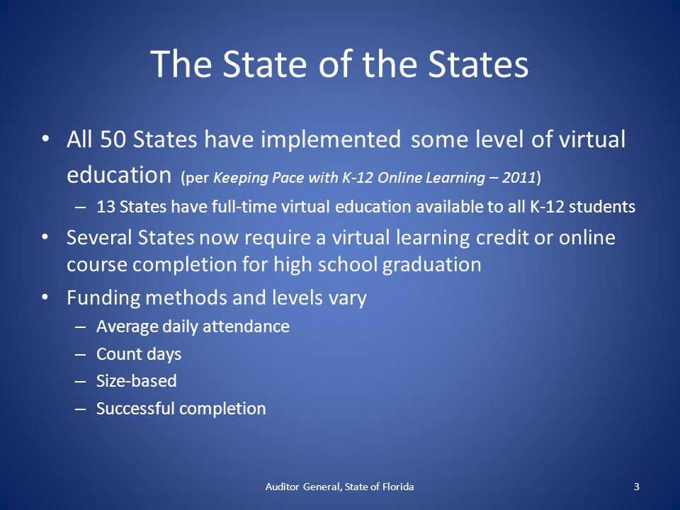 The State of the States All 50 States have implemented some level of virtual education (per Keeping Pace with K-12 Online Learning – 2011) – 13 States