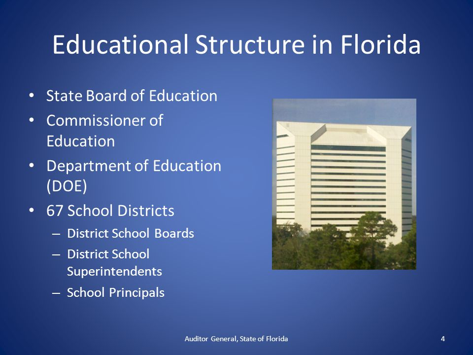 Educational Structure in Florida State Board of Education Commissioner of Education Department of Education (DOE) 67 School Districts – District School Boards – District School Superintendents – School Principals Auditor General, State of Florida4