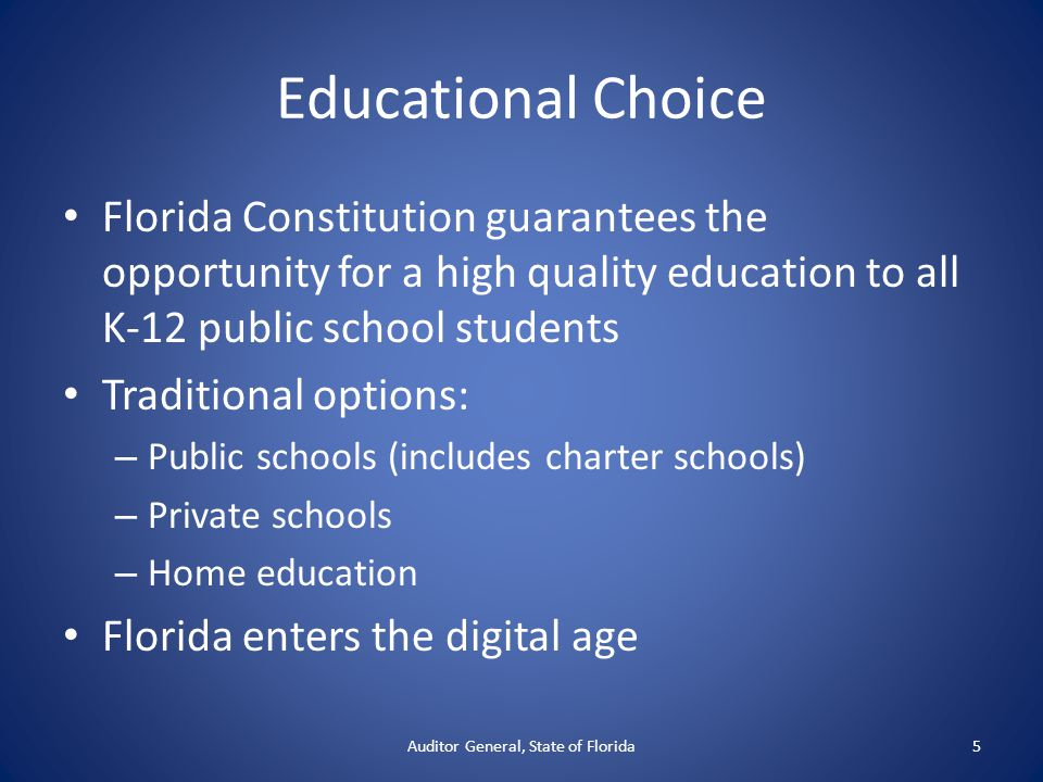 Educational Choice Florida Constitution guarantees the opportunity for a high quality education to all K-12 public school students Traditional options: – Public schools (includes charter schools) – Private schools – Home education Florida enters the digital age Auditor General, State of Florida5