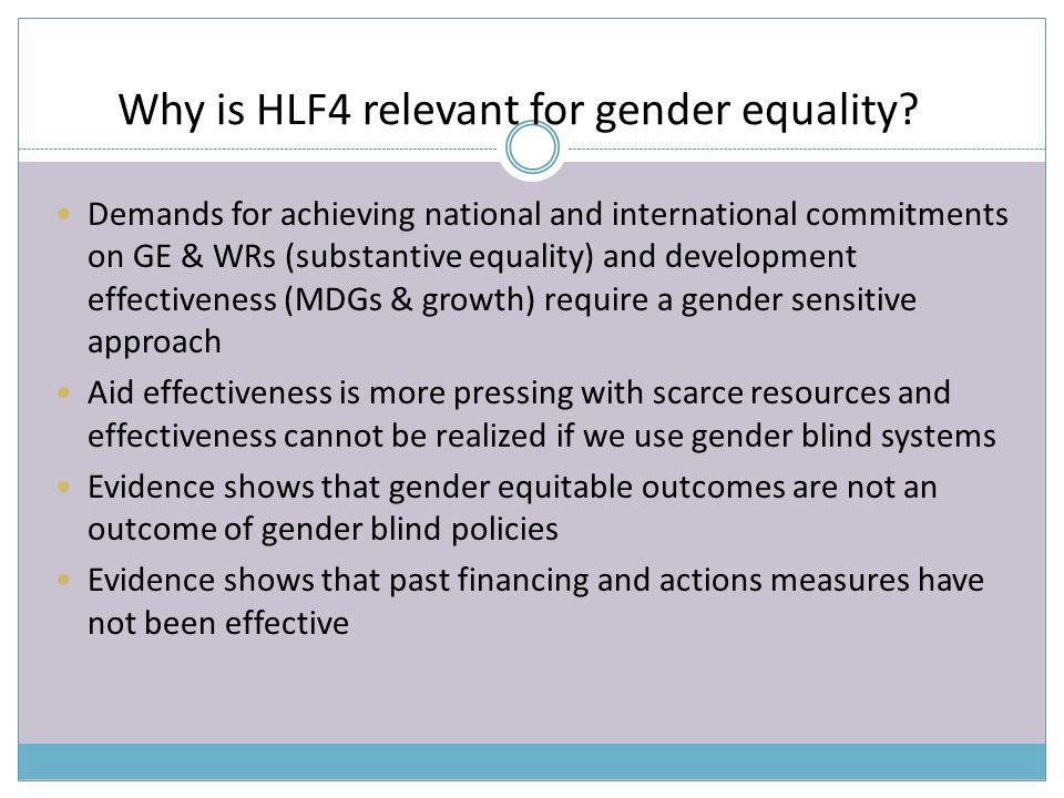 Key gender equality challenges that HLF4 can address.