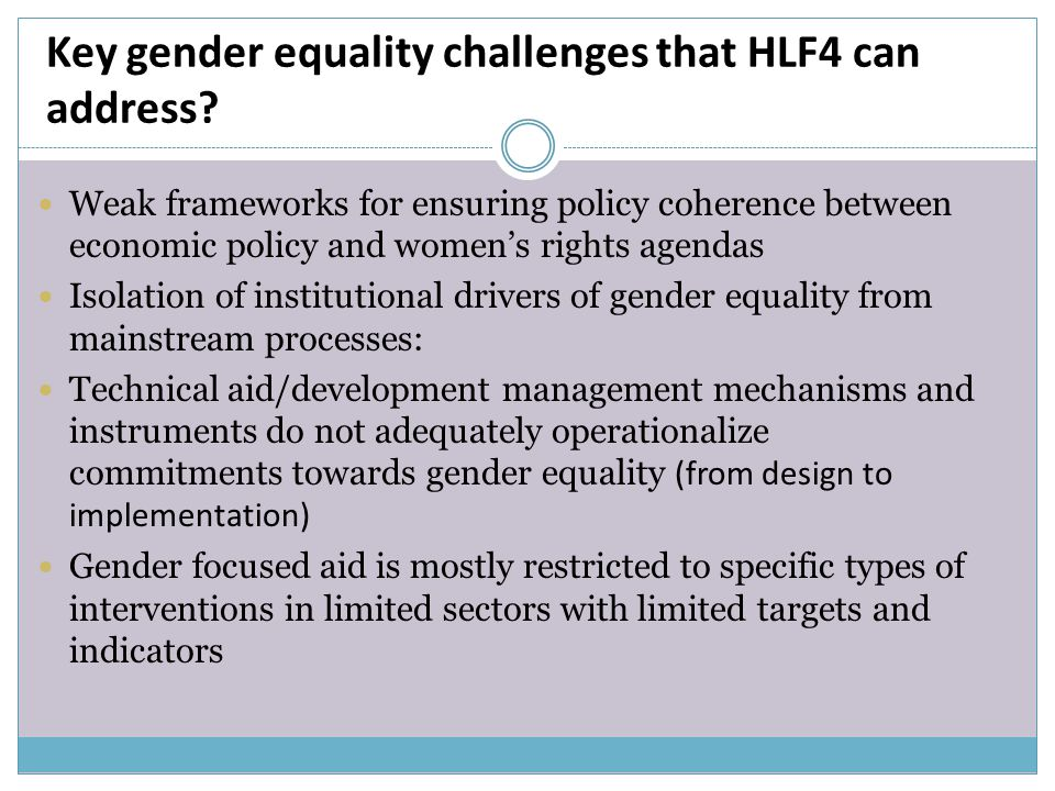 Key gender equality challenges that HLF4 can address.