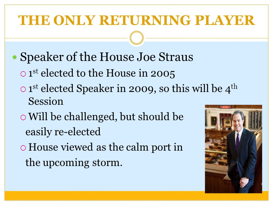 THE ONLY RETURNING PLAYER Speaker of the House Joe Straus  1 st elected to the House in 2005  1 st elected Speaker in 2009, so this will be 4 th Session  Will be challenged, but should be easily re-elected  House viewed as the calm port in the upcoming storm.