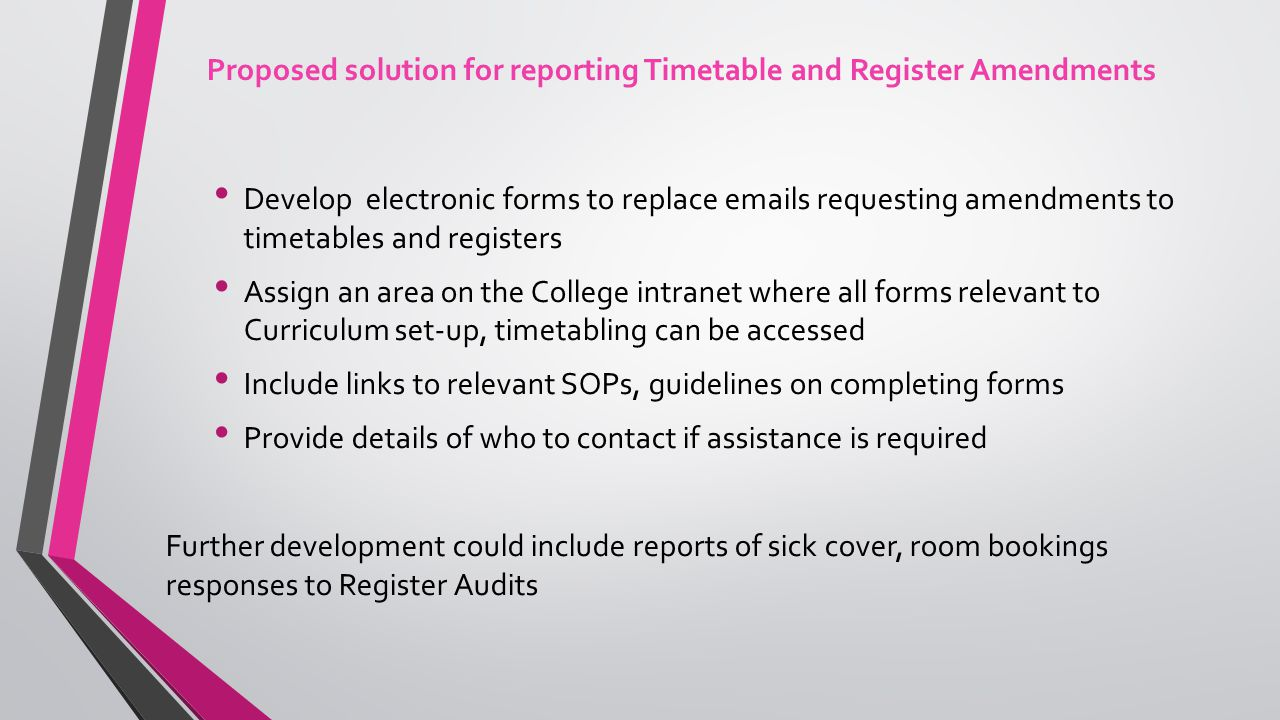 Can be analysed to reduce future amendments Attach emails/files relating to amendment Confirmation email sent to creator Current details pulled from QL Ability to drill down to Reg ID or module Mandatory fields for essential data Forms can be centrally stored within these groups Reports written providing info by groups Each stage of the workflow will enable tracking